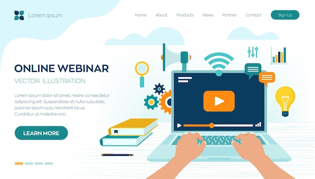 Strona docelowa konferencji internetowej seminarium internetowego