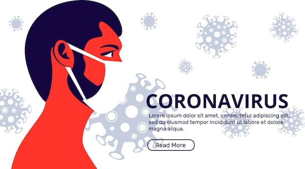 Strona docelowa koronawirusa z mężczyzną w masce medycznej