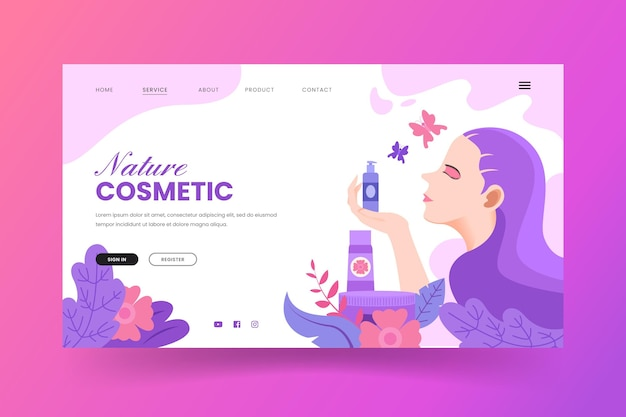 Strona docelowa kosmetyków przyrodniczych