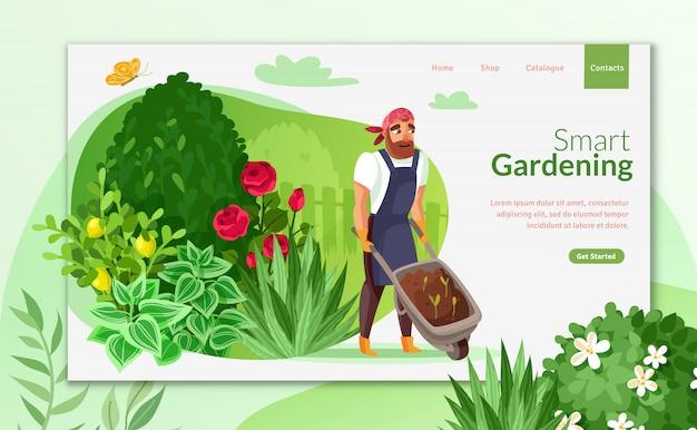 Strona docelowa kreskówki ogrodnictwo