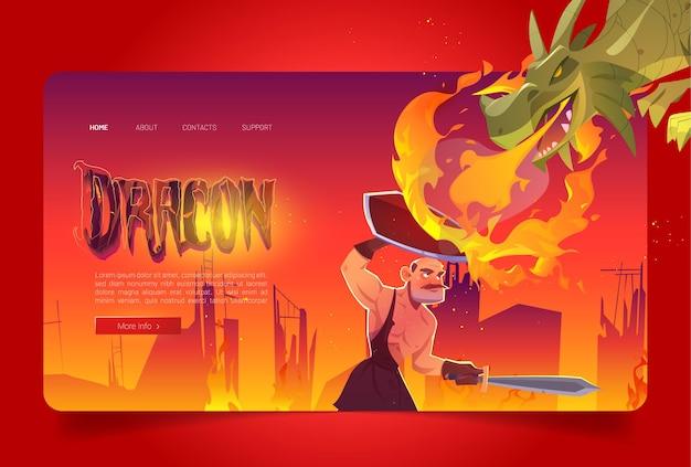 Strona docelowa kreskówki smoka atakującego rycerza