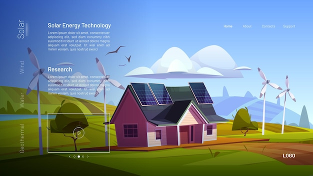 Strona docelowa kreskówki technologii energii słonecznej.