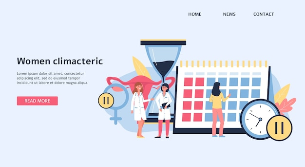 Strona docelowa lub szablon banera na temat menopauzy kobiet i kobiet w okresie menopauzy, ilustracja. tło witryny medyczne z postaciami z kreskówek lekarzy.