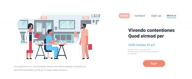 Strona docelowa lub szablon internetowy na temat zdrowia, motywu szpitalnego