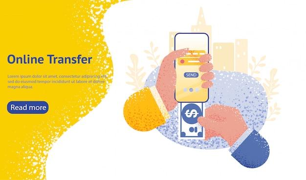 Strona docelowa lub szablon sieci web dla koncepcji transferu online ręką trzymającą smartfon i naciśnij przycisk wysyłania