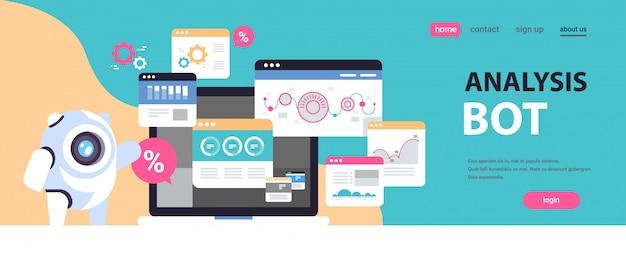 Strona docelowa lub szablon sieci web z ilustracją, motyw bota analizy