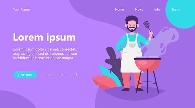Strona docelowa, mężczyzna smażone mięso na ilustracji wektorowych płaski natura. kreskówka kucharz grillujący stek i gotowanie świeżej żywności lub szaszłyk na świeżym powietrzu. koncepcja letni grill i piknik