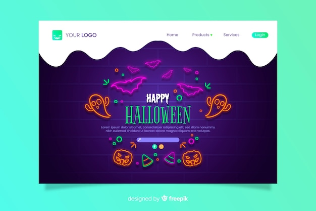 Strona docelowa neon halloween