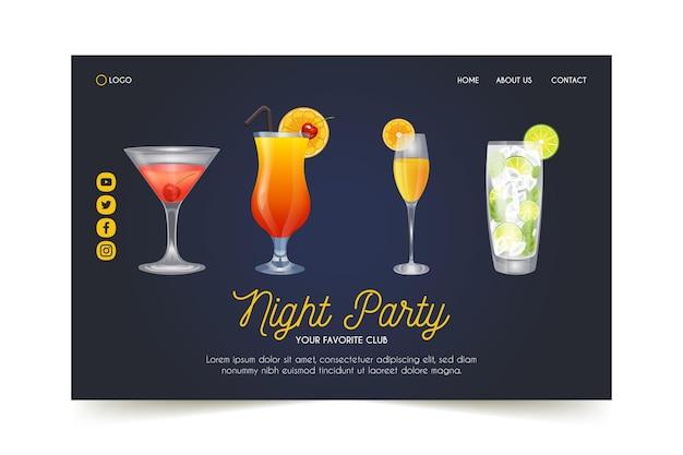 Strona docelowa nocnej imprezy