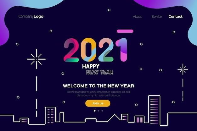 Strona docelowa nowego roku w płaskiej konstrukcji