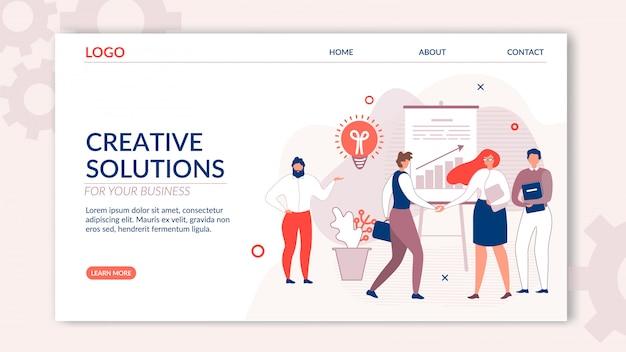 Strona docelowa oferuje kreatywne rozwiązanie dla biznesu