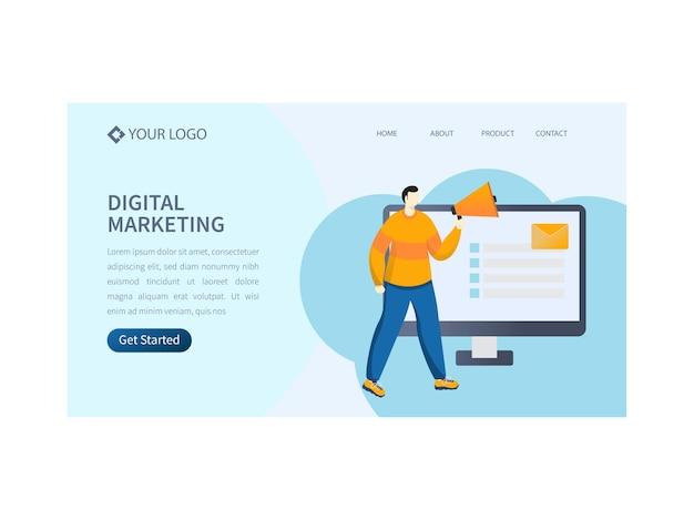 Strona docelowa oparta na koncepcji marketingu cyfrowego lub projekt banera bohatera na potrzeby reklamy.