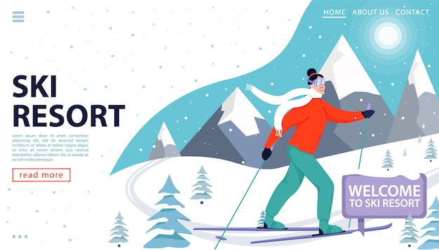 Strona docelowa ośrodka narciarskiego lub szablon internetowy z szczęśliwą kobietą na nartach w górach.