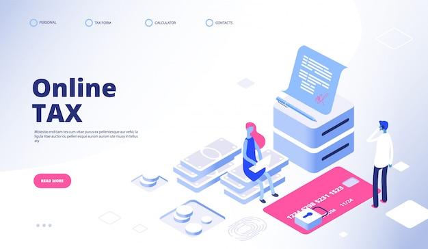 Strona docelowa płatności podatku. szablon banera internetowego wektor podatku online