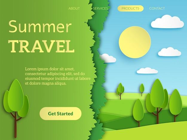 Strona docelowa podróży. aplikacja internetowa do rezerwacji wakacyjnych podróży mobilnych z ilustracją krajobrazu horyzontu rekreacji papieru