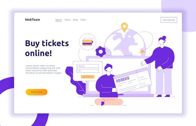 Strona docelowa podróży z dużymi nowoczesnymi ludźmi, mężczyzną i kobietą kupującą bilety online
