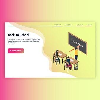 Strona docelowa powrót do szkoły w stylu izometrycznym
