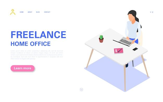 Strona docelowa pracy w domu. kobieta pracuje na laptopie przy stole.