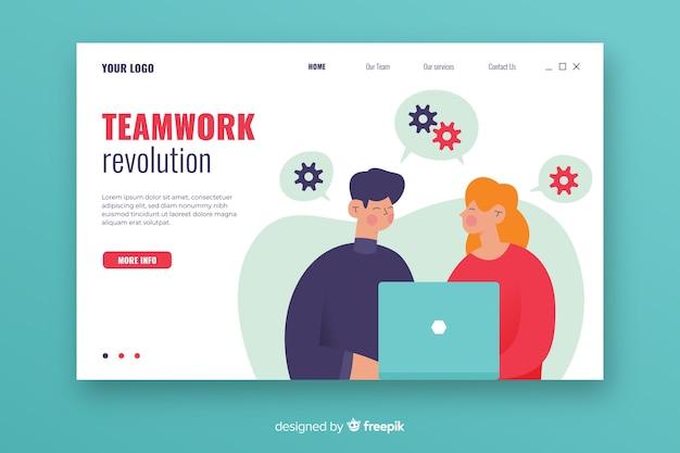 Strona docelowa pracy zespołowej z ilustrowanymi postaciami