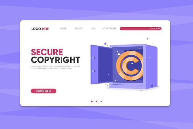 Strona docelowa praw autorskich z sejfem