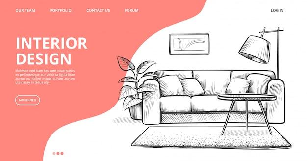 Strona docelowa projektowania wnętrz. szkic wektor salonu. ręcznie rysowane meble