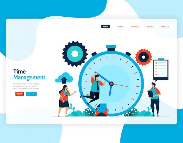 Strona docelowa projektu zarządzania czasem i planowania zadań, planuj i zarządzaj pracą na czas, brak czasu w biznesie, praca z czasem.