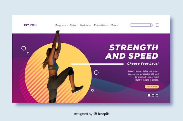 Strona docelowa promocji siły i szybkości siłowni