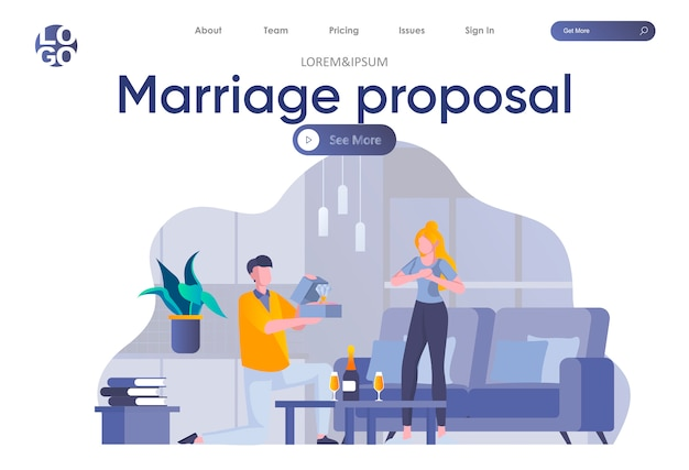 Strona docelowa propozycji małżeństwa z nagłówkiem. obsługuje pozycję na jeden kolanie i mienia sceny diamentowego pierścionku. wyjdź za mnie z zakochaną parą. romantyczne zaręczyny i małżeństwo płaskie ilustracja.