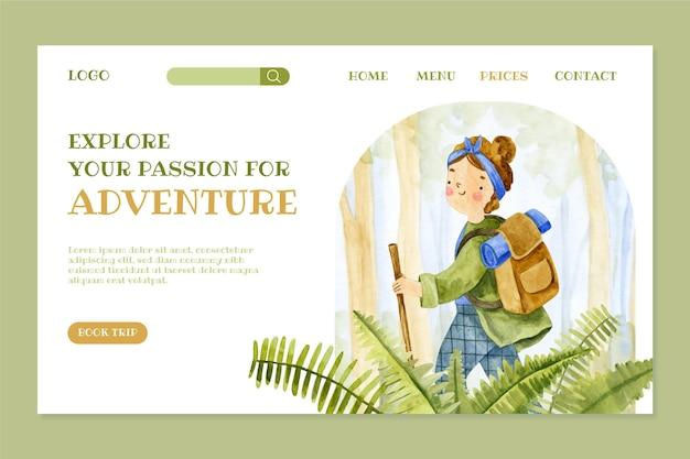 Strona docelowa przygody akwareli