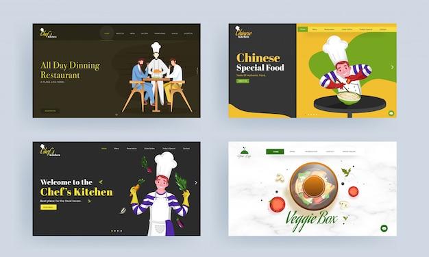 Strona docelowa restauracji, chińskie jedzenie specjalne, wegetariańskie pudełko.