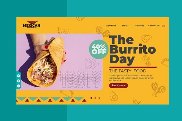 Strona Docelowa Restauracji Meksykańskiej Darmowych Wektorów