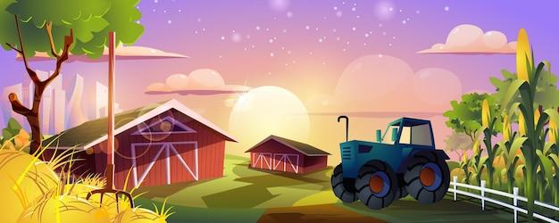 Strona docelowa rolnictwa gospodarstwo rolne ze stodołą traktorem, polami kukurydzy i sianem
