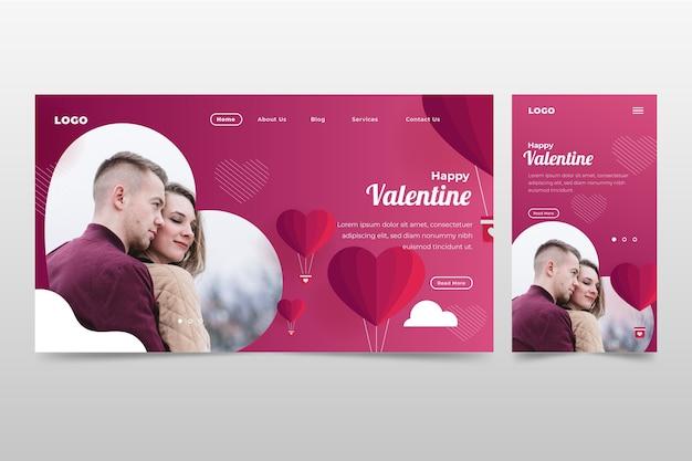 Strona docelowa romantycznych walentynek