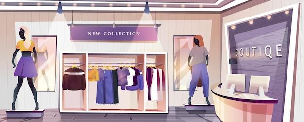 Strona docelowa sklepu butikowego wnętrze sklepu odzieżowego z szafami z wiszącymi stylowymi ubraniami