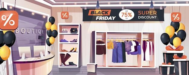 Strona docelowa sklepu w czarny piątek odzież i obuwie sklep internetowy tło banera internetowego