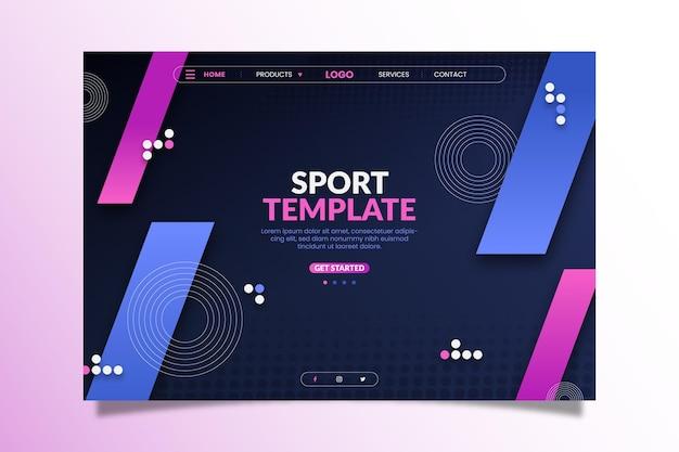 Strona docelowa sportowego projektu gradientu
