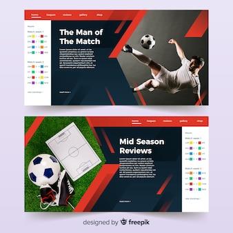 Strona docelowa sportu piłkarskiego ze zdjęciem