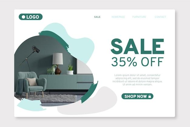 Strona docelowa sprzedaży ekologicznych mebli płaskich ze zdjęciem