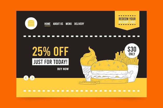 Strona docelowa sprzedaży hamburgerów