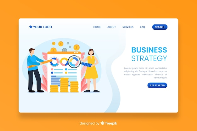 Strona docelowa strategii biznesowej o płaskiej konstrukcji