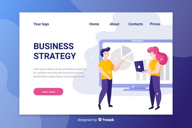 Strona docelowa strategii biznesowej z analizą postaci