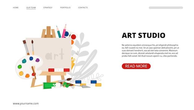 Strona docelowa studia artystycznego. sztuka, narzędzia do malowania wektor szablon banera internetowego. pędzle, farby, kredki, elementy sztalug