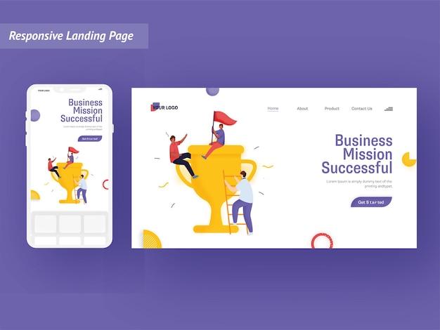Strona docelowa sukcesu misji biznesowej