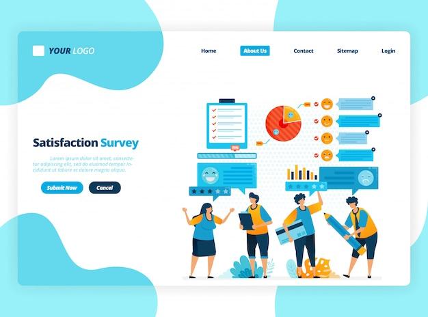 Strona docelowa szablon ilustracji badań satysfakcji emotikonów. przyznawać oceny i gwiazdki za usługi aplikacji. dobre opinie z emotikonami