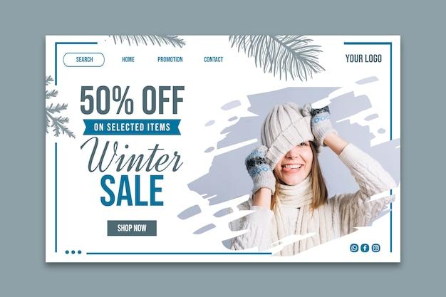 Strona docelowa szablonu zimowej sprzedaży