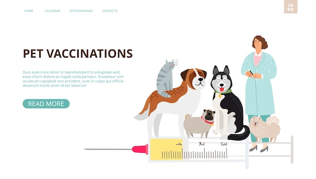 Strona docelowa szczepień zwierząt domowych.