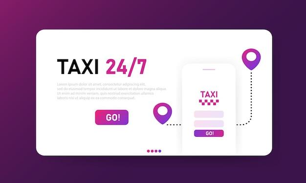 Strona docelowa taksówki online 24 7. aplikacja mobilna usługi transportu miejskiego. projekt banera, układ strony internetowej interfejsu użytkownika. płaska ilustracja. szablon strony docelowej.