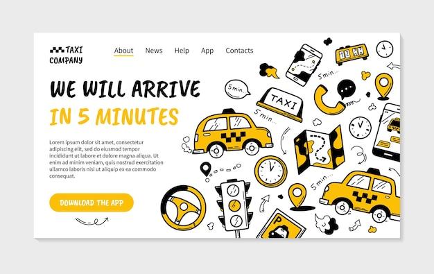 Strona docelowa taksówki w stylu doodle z samochodami