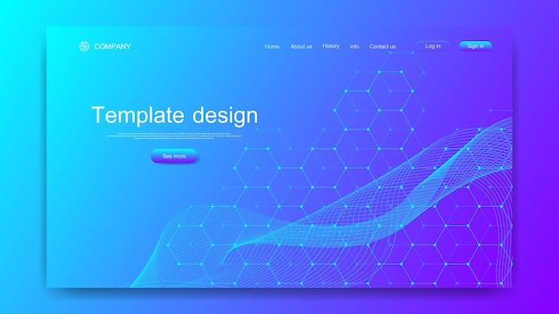 Strona docelowa tech tło z ilustracją kolorowych dynamicznych fal