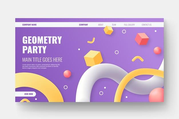 Strona docelowa trójwymiarowych kształtów